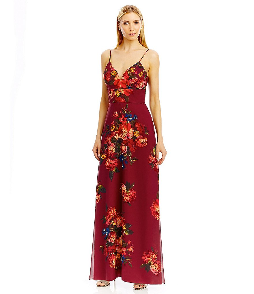 Nicole Miller New York Spaghetti Strap Floral Print Chiffon Gown