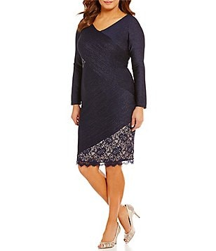 London Times Plus V-Neck Pintuck Lace Sheath Dress