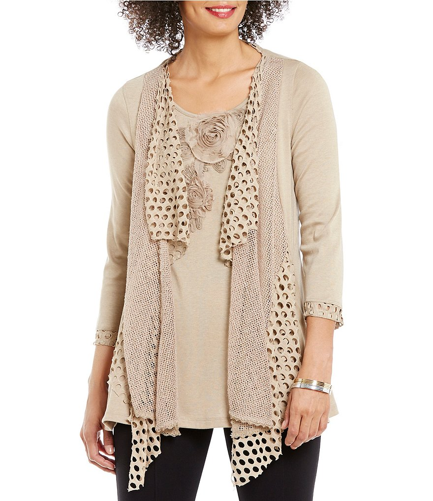 Ali Miles Long Sleeve Mixed Media Tunic