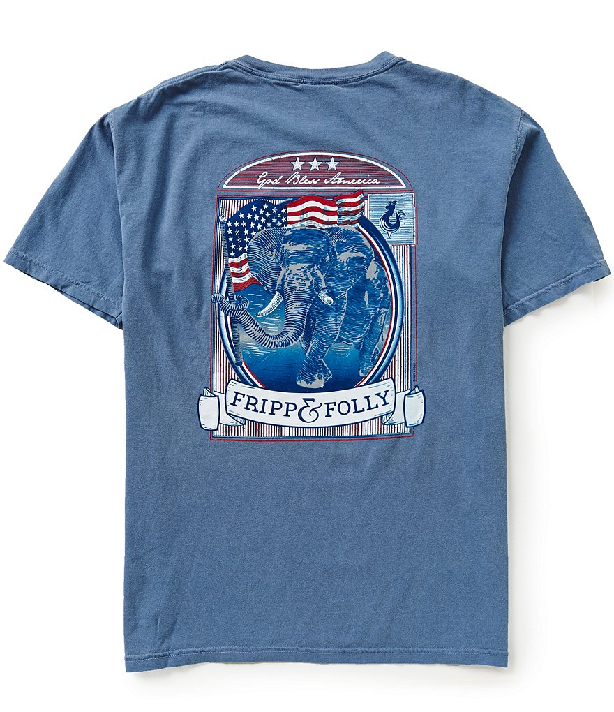 Fripp & Folly Men´s Elephant God Bless Short-Sleeve Graphic Pocket Tee
