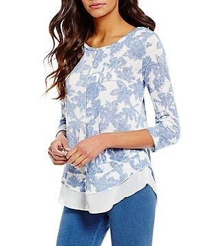 Multiples Scoop Neck Flounce Hem Floral Top