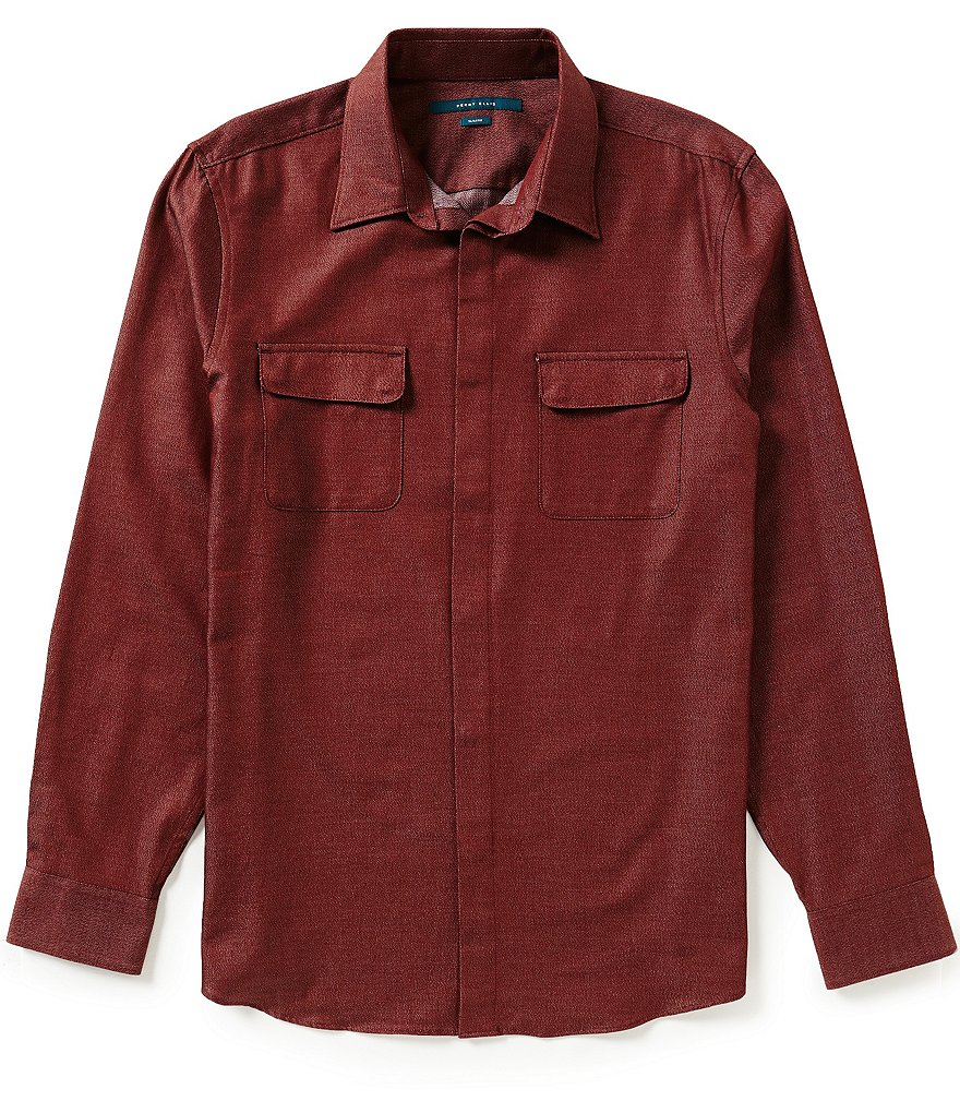 Perry Ellis Jasper Slim-Fit Long-Sleeve Solid Woven Shirt
