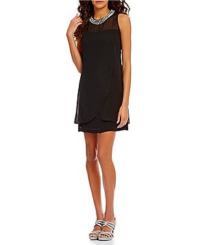 S.L. Fashions Pearl-Collar Shift Sleeveless Dress