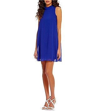 S.L. Fashions Mock Neck Sleeveless Solid Chiffon Shift Dress
