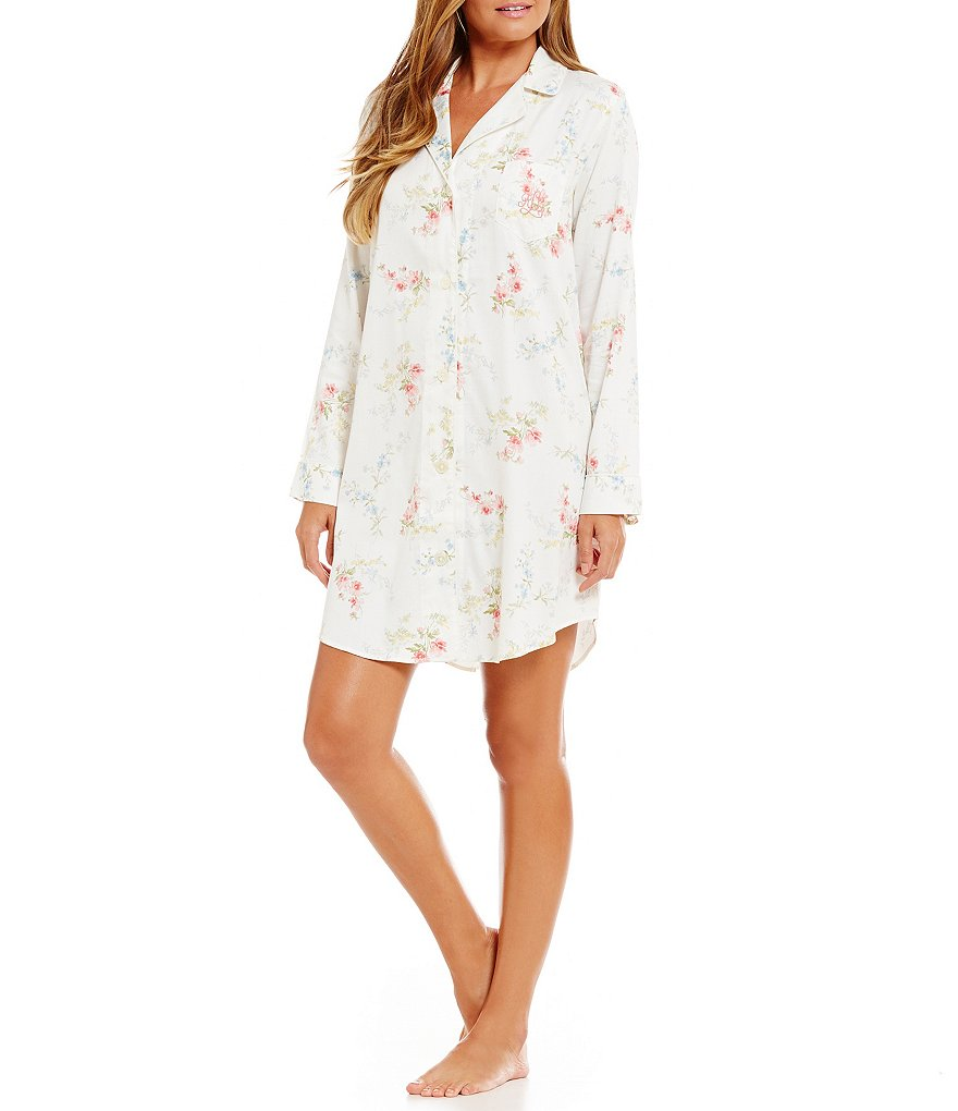 Lauren Ralph Lauren Sateen Notch-Collar Sleepshirt