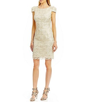 Nicole Miller New York Sequin Lace V-Back Dress