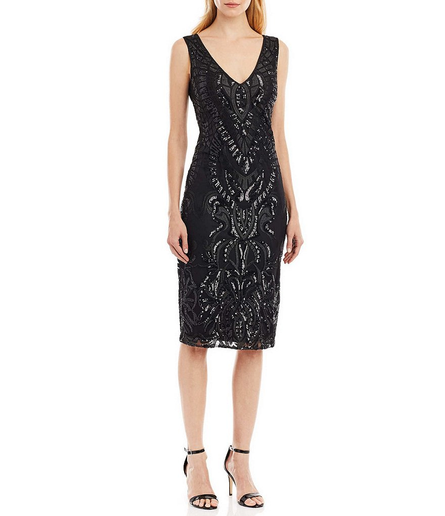 Nicole Miller New York Embroidered Sequin Sleeveless Midi Dress