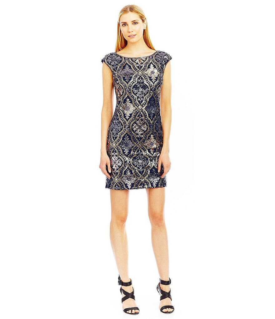 Nicole Miller New York Sequin Trellis Open Back Dress