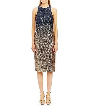 Nicole Miller New York Sequin Ombre Sleeveless Midi Dress