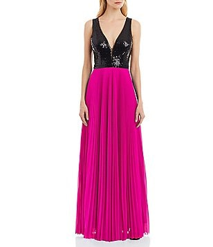 Nicole Miller New York V-Neck Sleeveless Sequin-Bodice Pleated Gown