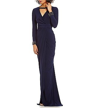 Adrianna Papell Beaded Bar V-Neck Wrap Jersey Dress