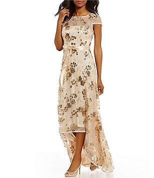 Adrianna Papell Sequin Hi-Low Short Sleeve Gown