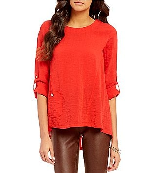 John Mark Crinkle 3/4 Roll-Tab Sleeve Tunic