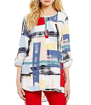 John Mark Printed 3/4 Sleeve Hi-Low Tunic