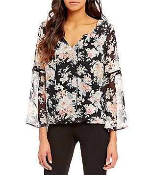 I.N. Studio Soft Floral Print Round-Neck Long Bell Sleeve Top