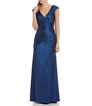 Kay Unger Faux-Wrap Banded Satin Gown