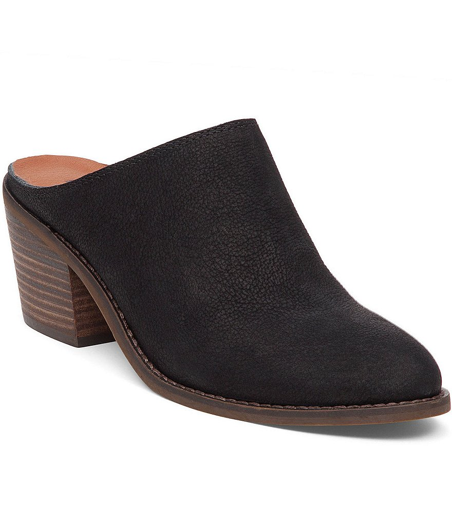 Lucky Brand Maikki Leather Open Back Slip On Stacked Heel Clogs