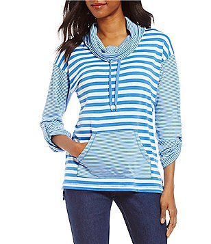 Ruby Rd. Cowl Neck Drawstring Combo Stripe Pullover Top