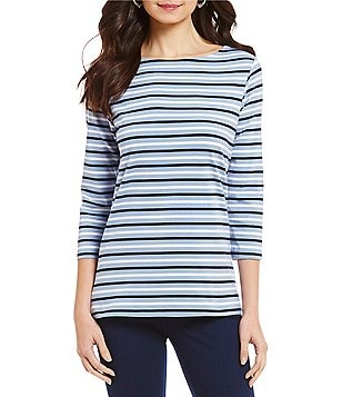 Ruby Rd. 3/4 Sleeve Tri-Color Stripe Print Knit Top
