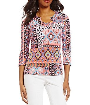 Ruby Rd. Keyhole Neck 3/4 Sleeve Plains Patchwork Print Knit Top