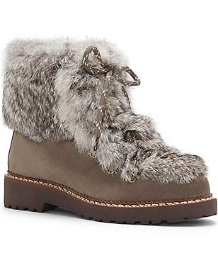 Arturo Chiang Phillipa Rabbit Fur-Trimmed Booties