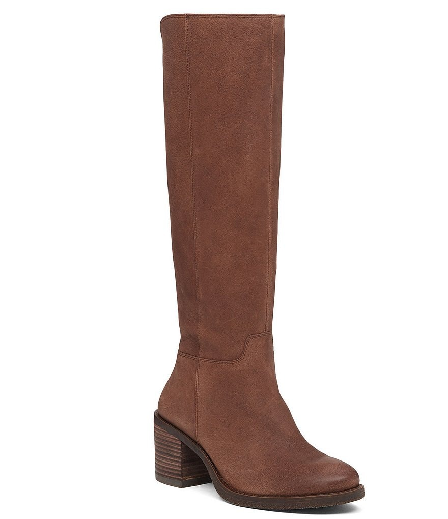 Lucky Brand Ritten Leather Wide Calf Zip Tall Boots