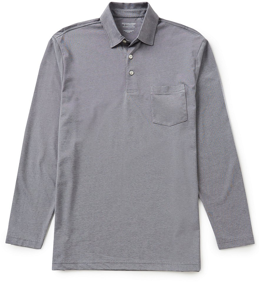 Roundtree & Yorke Silky Finish Long Sleeve Jacquard Polo