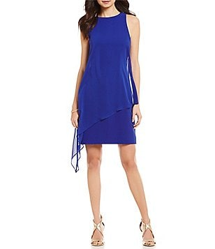 Tahari ASL Jewel Neck Sleeveless Chiffon Overlay Crepe Sheath Dress