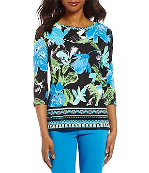 Ruby Rd. Petites Embellished Boat-Neck 3/4 Sleeve Printed Knit Top