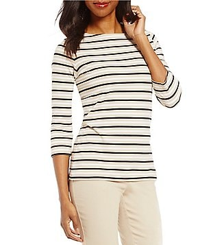 Ruby Rd. Petites 3/4 Sleeve Tri-Color Stripe Print Knit Top
