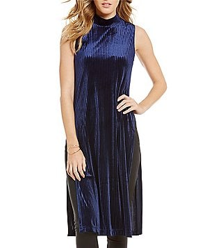 J.O.A. Sleeveless Mock Neck Side Slits Velvet Tunic