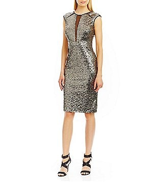 Nicole Miller New York Sequin Illusion-Inset Sheath Dress