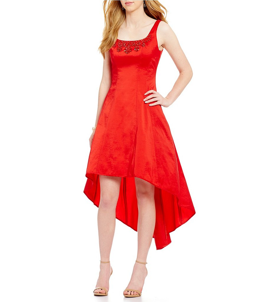 Nicole Miller New York Hi-Low Taffeta Sleeveless Dress