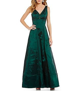 Nicole Miller New York V-Neck Beaded Taffeta Gown