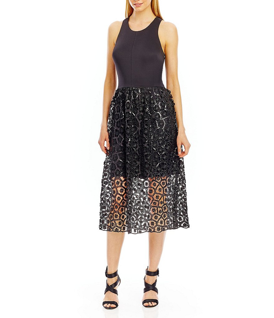Nicole Miller New York Scuba Top Sequin Lace Midi Dress