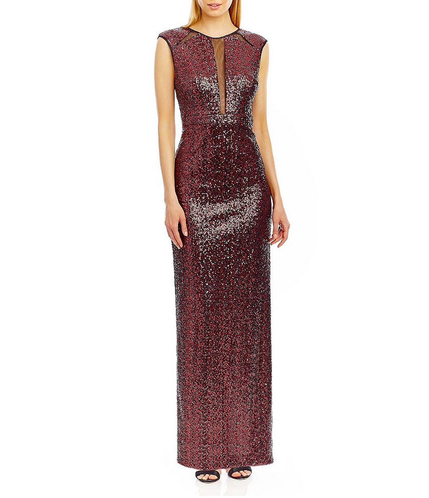 Nicole Miller New York Sequined Illusion-Inset Gown