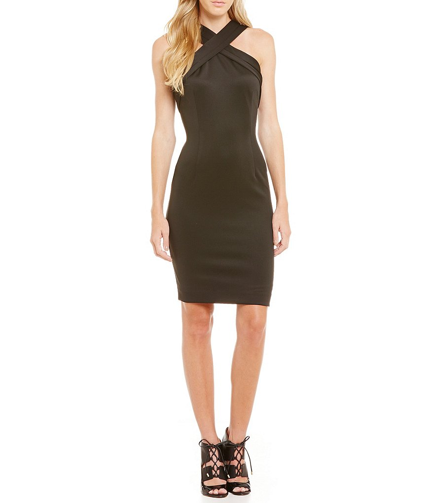 Calvin Klein Cross Front Sheath Dress