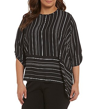 Calvin Klein Plus Striped Roll-Tab Sleeve Crepe Blouse