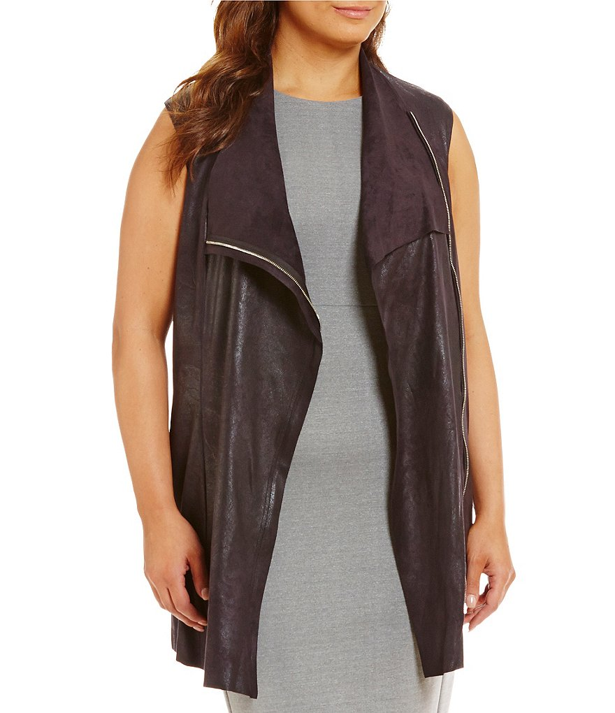 Calvin Klein Plus Distressed Faux-Suede Vest