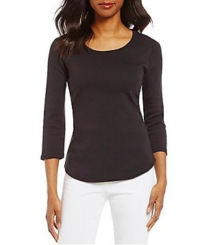 Ruby Rd. Scoop Neck 3/4 Sleeve Solid Rib Knit Top