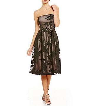 Calvin Klein Strapless Embroidered Fit and Flare Dress