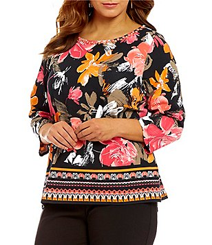 Ruby Rd. Plus Embellished Boat Neck 3/4 Sleeve Printed Knit Top