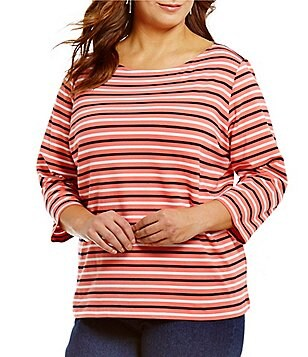 Ruby Rd. Plus 3/4 Sleeve Tri-Color Stripe Print Knit Top