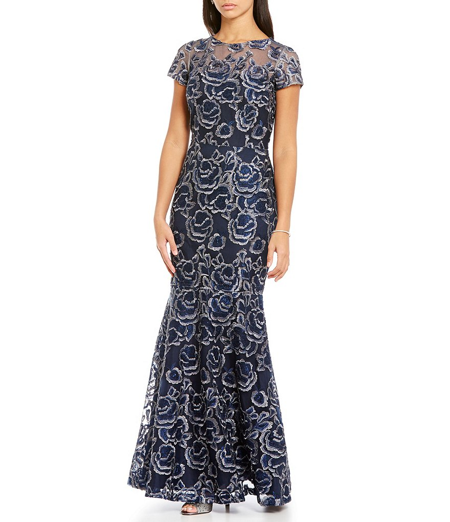 David Meister Metallic Lace Mermaid Gown