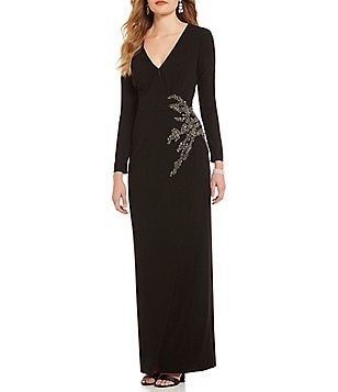 David Meister Surplice V-Neck Wrap Crepe Beaded-Side Gown