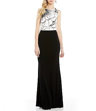 David Meister Beaded Colorblock Bodice Sleeveless Jersey Gown