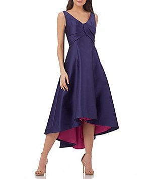 Carmen Marc Valvo Infusion V-Neck Sleeveless Two-Tone Hi-Low Mikado Gown