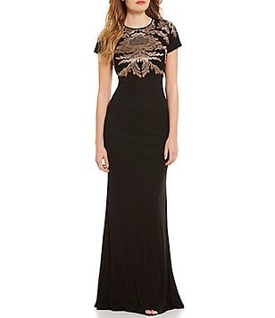 David Meister Metallic Embroidered Stretch Jersey Gown