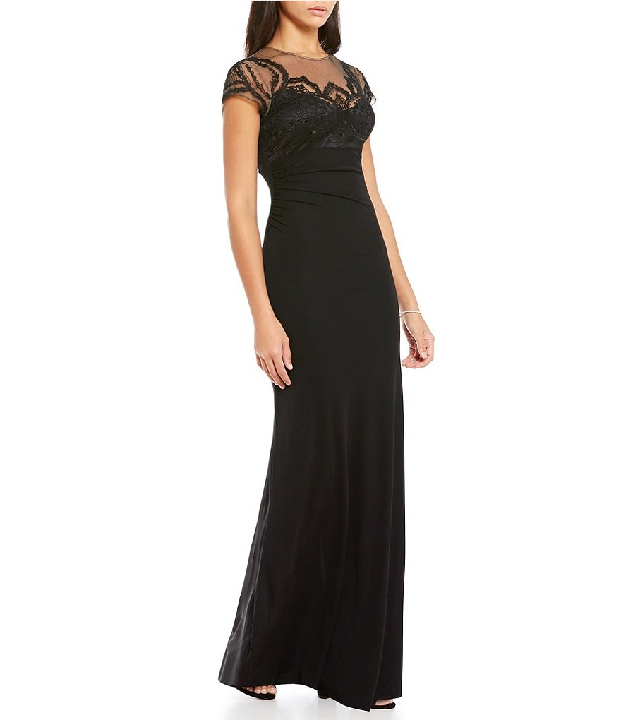 David Meister Lace Illusion Neckline Jersey Gown