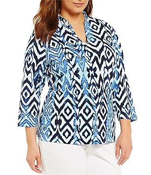 Ruby Rd. Plus Embellished Funnel Neck Safari Diamonds Print Knit Top